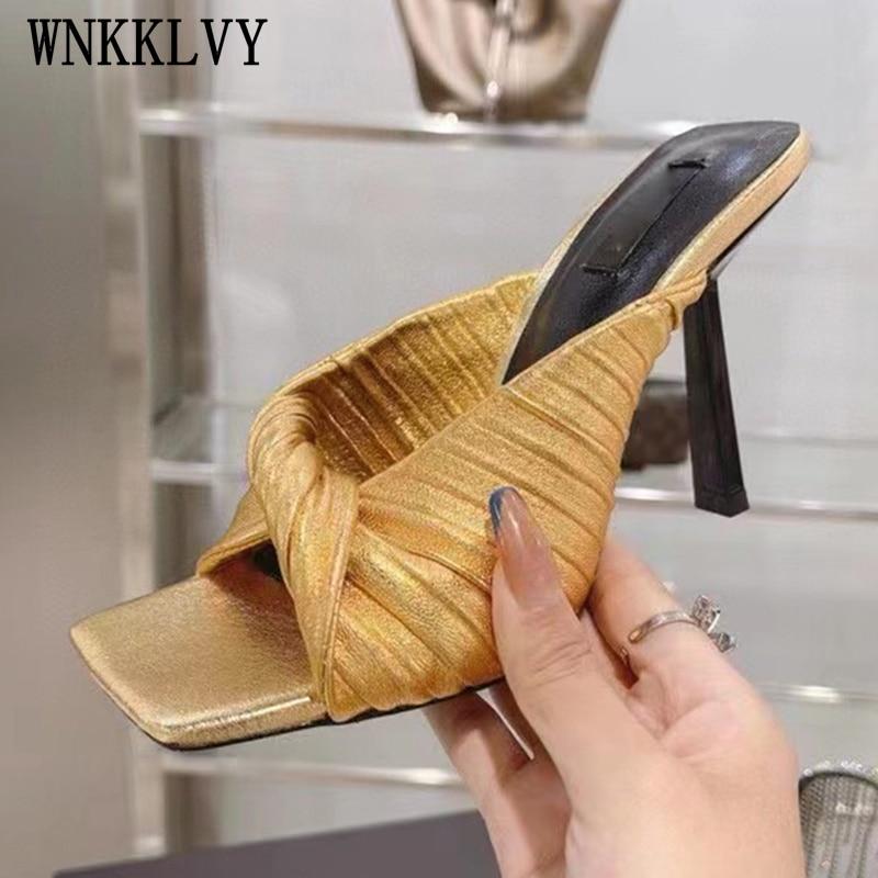 النساء القوس اللمحة تو الصنادل عالية الكعب 2021 الصيف أحذية الشاطئ فستان الحفلات النعال ذهبي اللون جلد طبيعي المدرج sandalias
