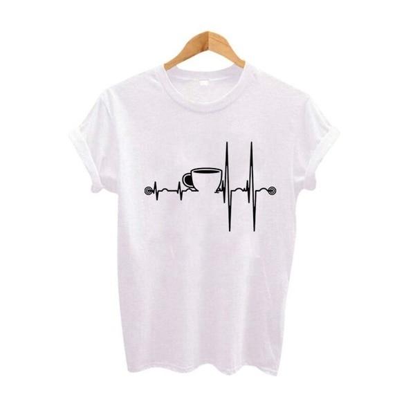 Футболки xA8EK9 с изображением сердцебиения кофе, женские хипстерские футболки в стиле панк Харадзюку, летние смешные футболки, уличная одежд...