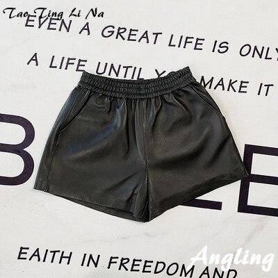 Tao Ting Li Na Women Spring Genuine Real Sheep Leather Shorts E45