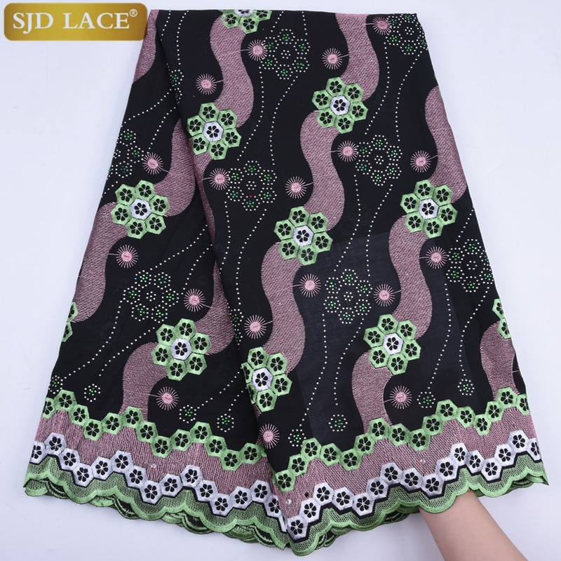 Venta barata encaje de gasa suizo en Suiza bordado africano nigeriano seco encaje tela con piedras encaje de algodón para mujer 1746B