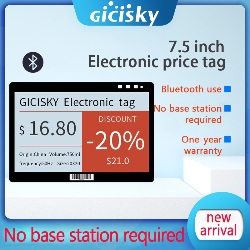 1 Pcs 7.5 Inch Epaper Eink Screen Price Tag E-Paper E-ink Display Screen ESL Bluetooth Without Base Station No  Need Writing