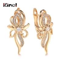 kinel luxury 585 rose gold crystal flower earrings for women micro wax inlay natural zircon bridal wedding jewelry boho earrings