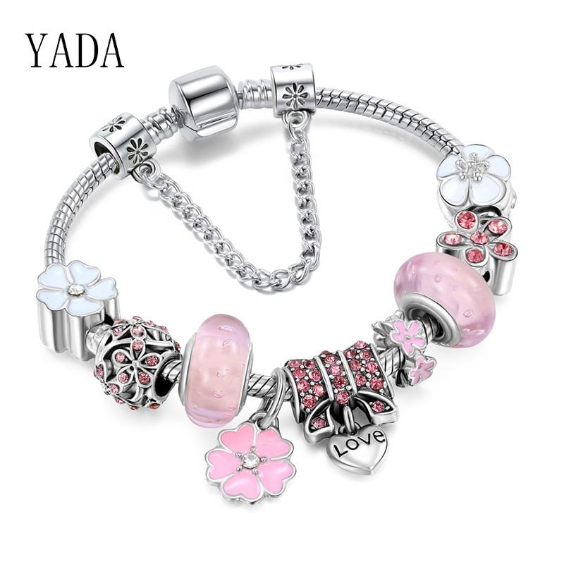 Pulseras y brazaletes de abalorios de mariposa YADA, regalos para mujeres, pulseras de cuentas DIY, pulsera con joyería de cristal BT200194