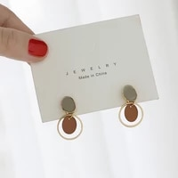 cute romantic retro earring simple geometrical irregular frosted texture color round stud earrings for women jewelry