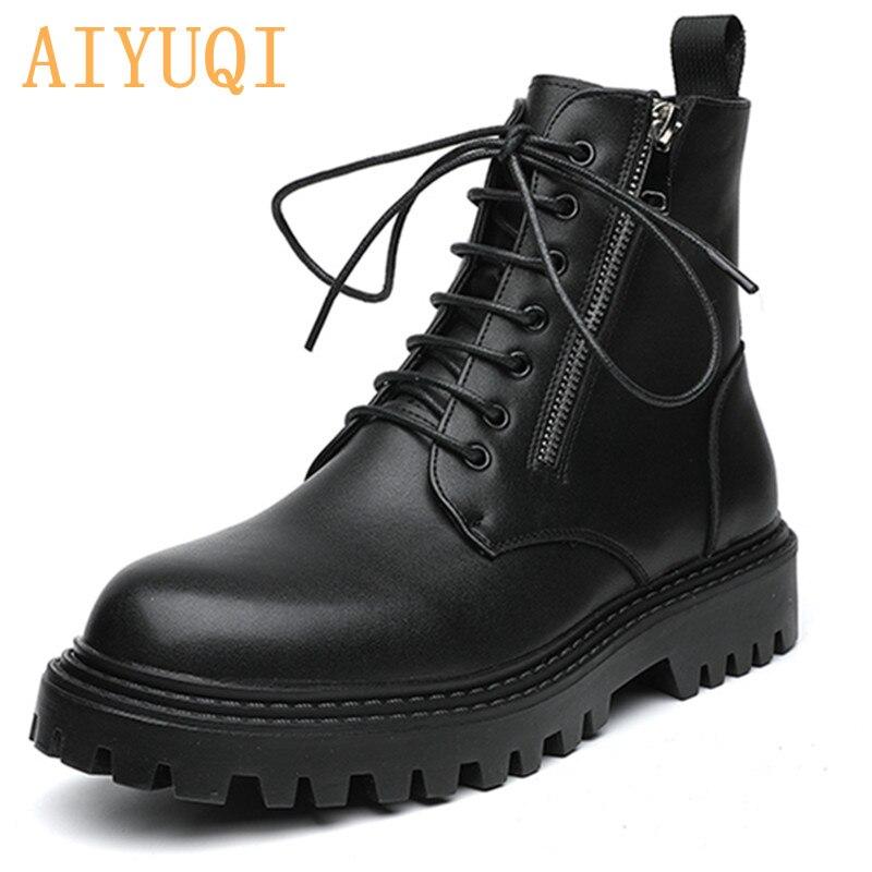 AIYUQI مارتن الأحذية الرجال 2021 جديد المخملية سميكة سوليد النمط البريطاني الرجال دراجة نارية الأحذية العصرية الأدوات أحذية الرجال