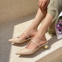 concise elegant solid t tied women sandals summer real leather pointed toe strange medium heels nude shoes woman new green beige