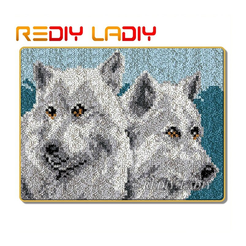 Kits de costura con aguja de lengüeta para alfombra, Alfombra de ganchillo, Alfombra de lana acrílica de Wolf Brothers, esterilla de cojín de lona preimpresa, manualidades de tapiz de ganchillo DIY