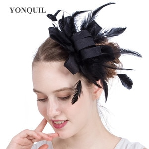 Imitation Sinamay Headwear For Eleagnt Ladies Wedding Fascinator Black Hat With Fancy Feather Hoops Hair Accessories Hair Comb