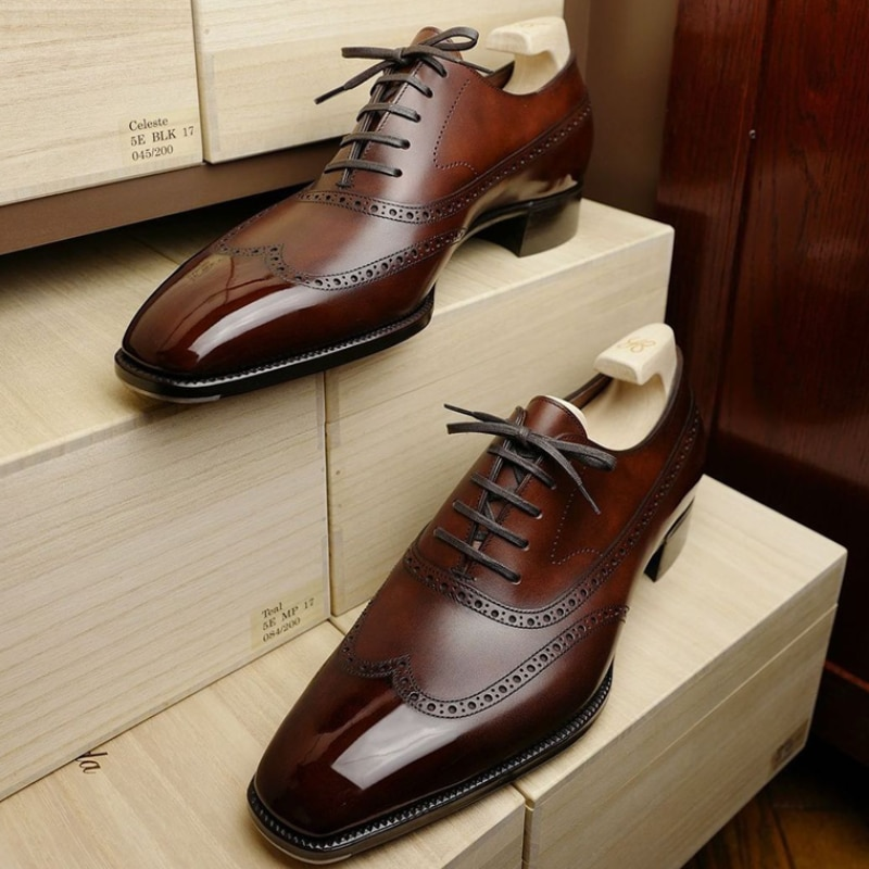 2021 New Men's Shoes Fashion Casual Business Brown PU Hollow Stitching Lace-up Low-heel Comfortable Oxford Shoes HL448