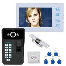7 zoll TFT Fingerprint Anerkennung RFID Passwort Video Tür Sprechanlage Türklingel (Us-stecker)