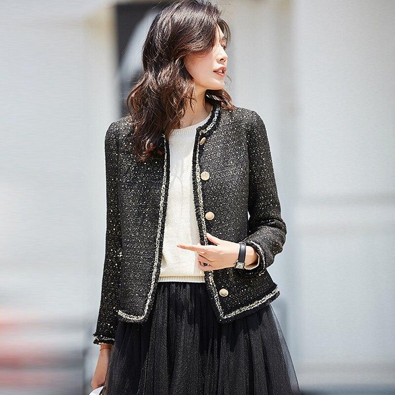 Casaco de tweed runway mulheres outono jaket viscose mistura o pescoço retalhos casaco curto primavera outono jaquetas básicas nova moda