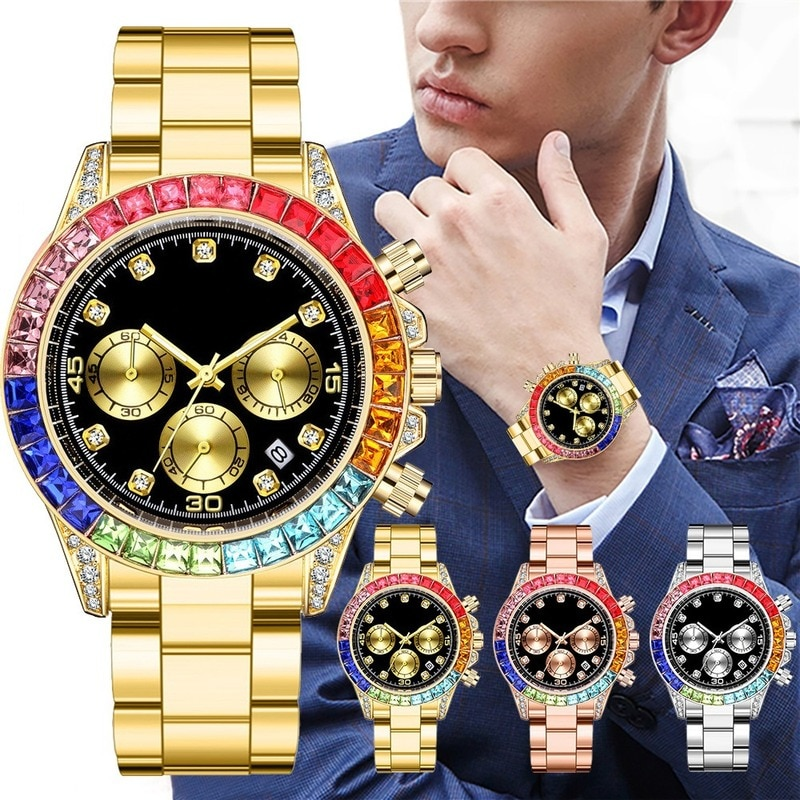 New Fashion Mens Watches Stainless Steel Day Date Watch for Men Luxury Colored Diamonds Calendar Qua