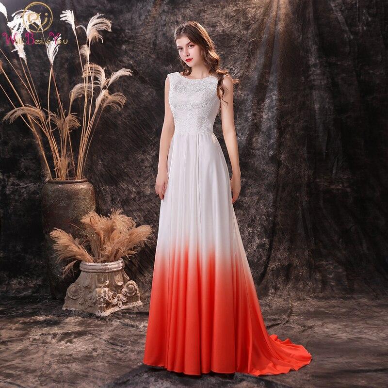فستان التخرج من الدانتيل الأبيض والبرتقالي ، فستان طويل مع زينة على شكل حرف A ، مجموعة جديدة 2020