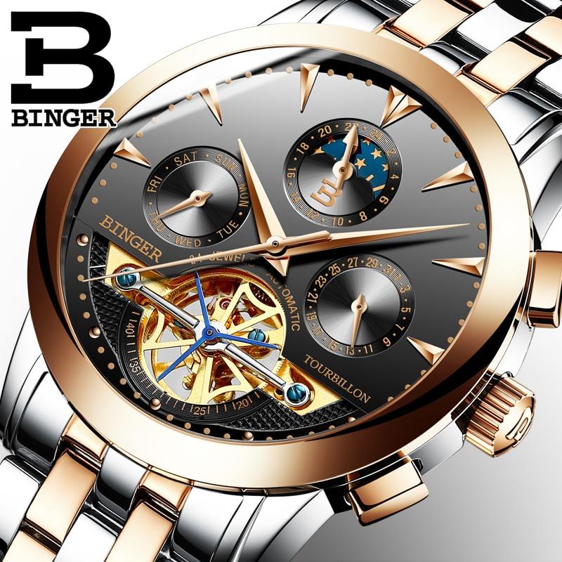 Механические часы BINGER с автоподзаводом, механические часы с турбийоном,