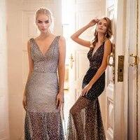 linglewei new spring and summer womens dress deep v neck back fitted dress long dress
