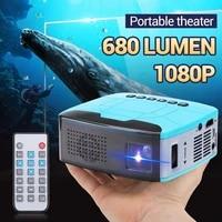 Mini projecteur 680Lumens 1920x1080P LED Portable HD projecteur pour Home Cinema prend en charge la puissance par batterie externe