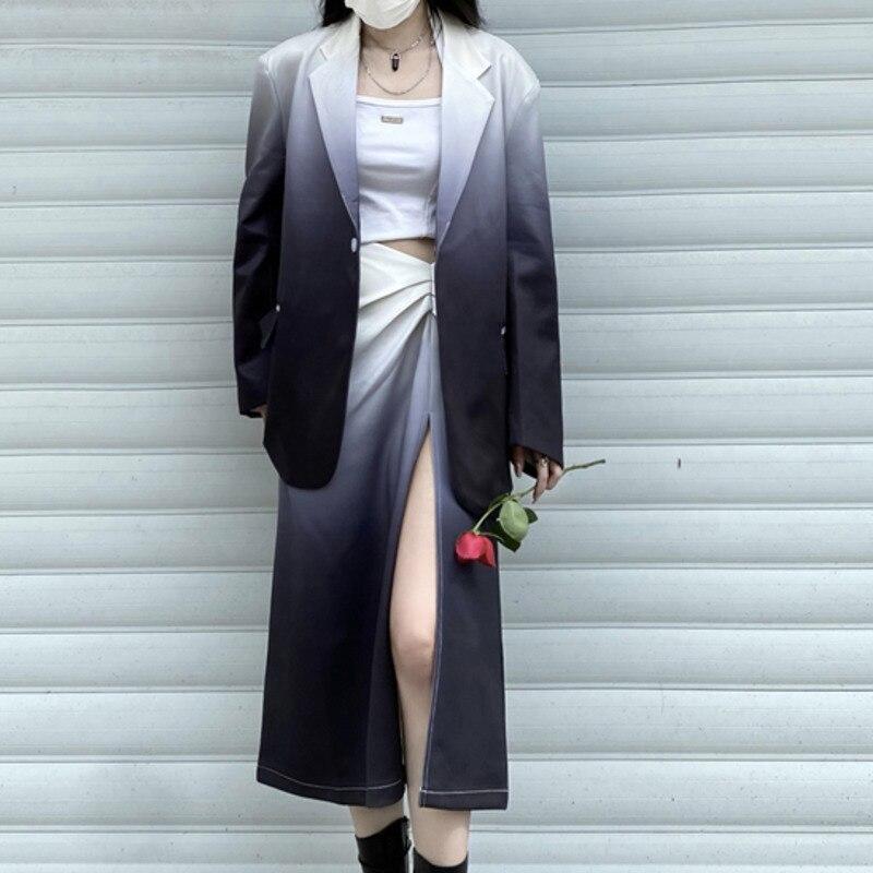 Женский костюм с юбкой, Новинка осени в Корейском стиле 2021, свободный однобортный женский костюм из двух предметов с длинными рукавами и гал...