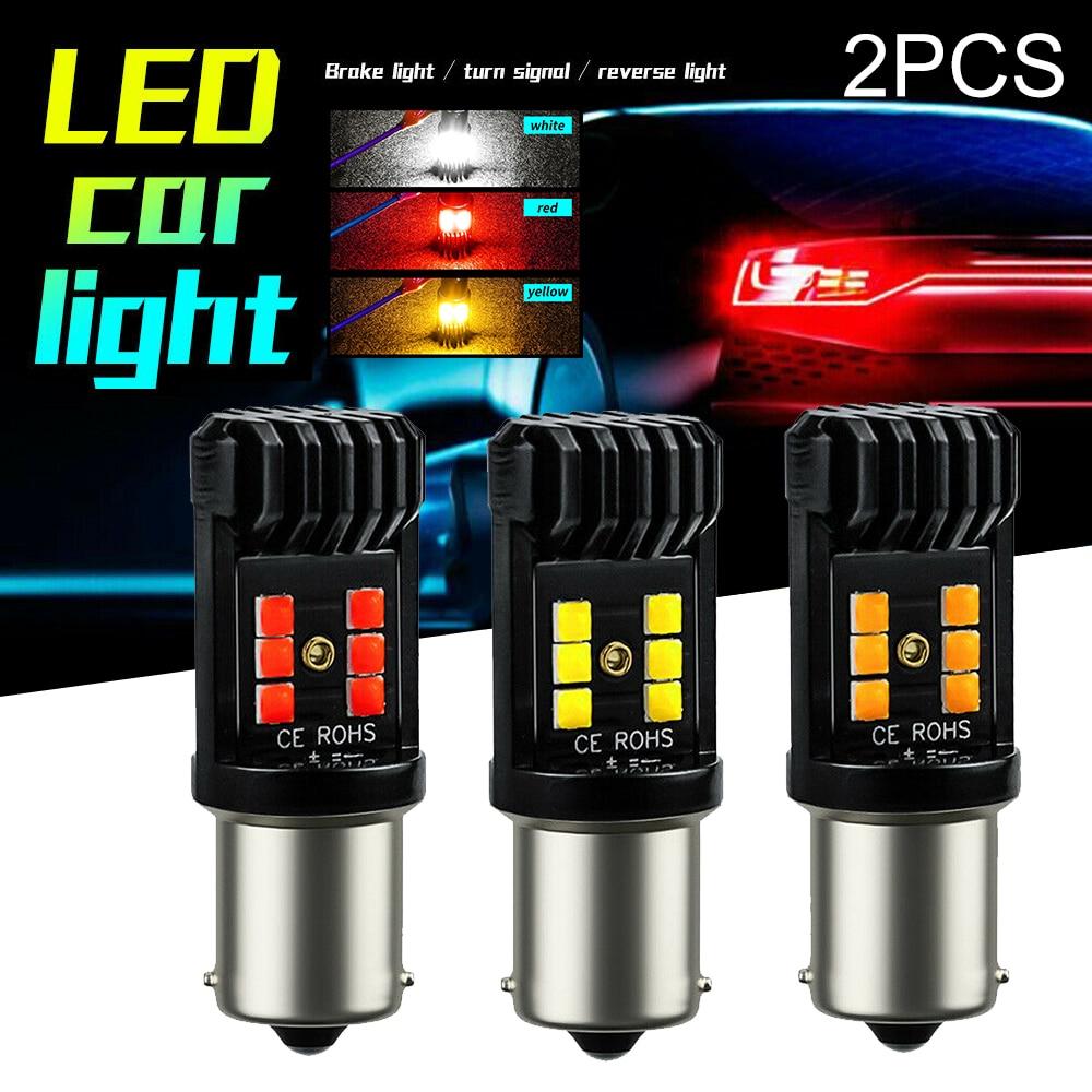 Bombillas LED de freno Mayitr 2 uds 9-30V rojo/blanco/amarillo para coche BA15S 382 P21W 1156 bombilla de señal intermitente inversa 36W