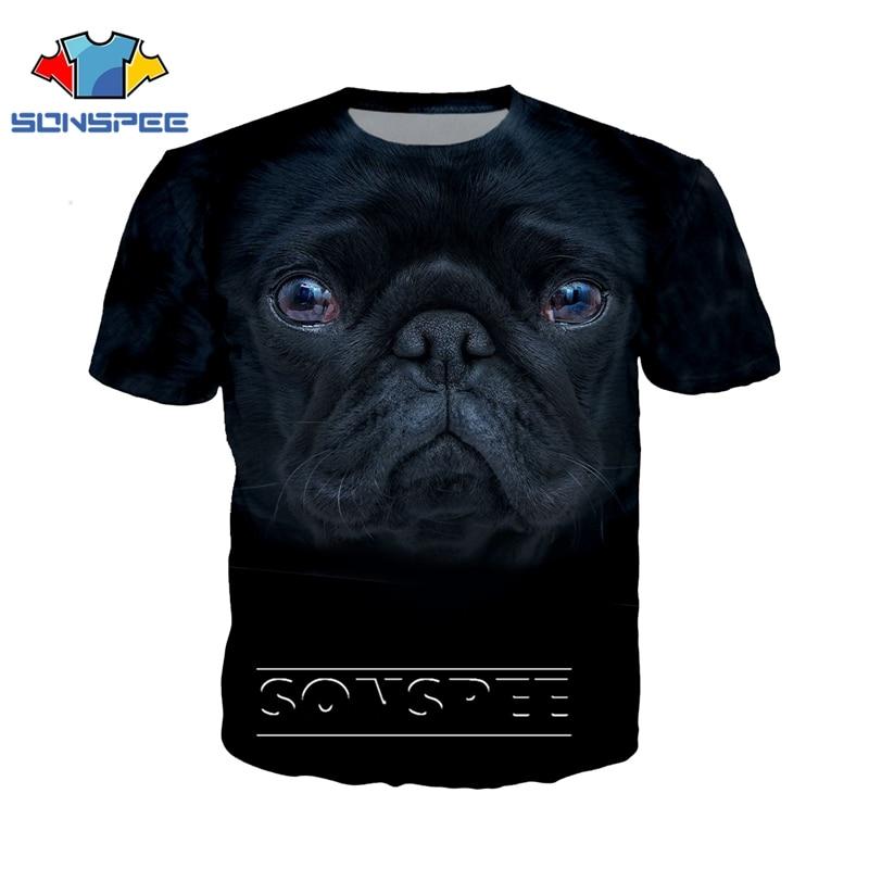 Camiseta de moda 3D para hombre/mujer, camiseta de Carlino con estampado de cara de animal, ropa de calle para dj, camiseta Harajuku para perros, camisetas de manga corta de anime