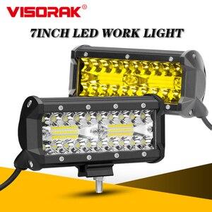 "VISORAK 7"" Inch Amber Truck Offroad LED Work Light Bar For Jeep Trailor Auto Off Road 4x4 4WD SUV ATV Tractor Car LED Fog light"