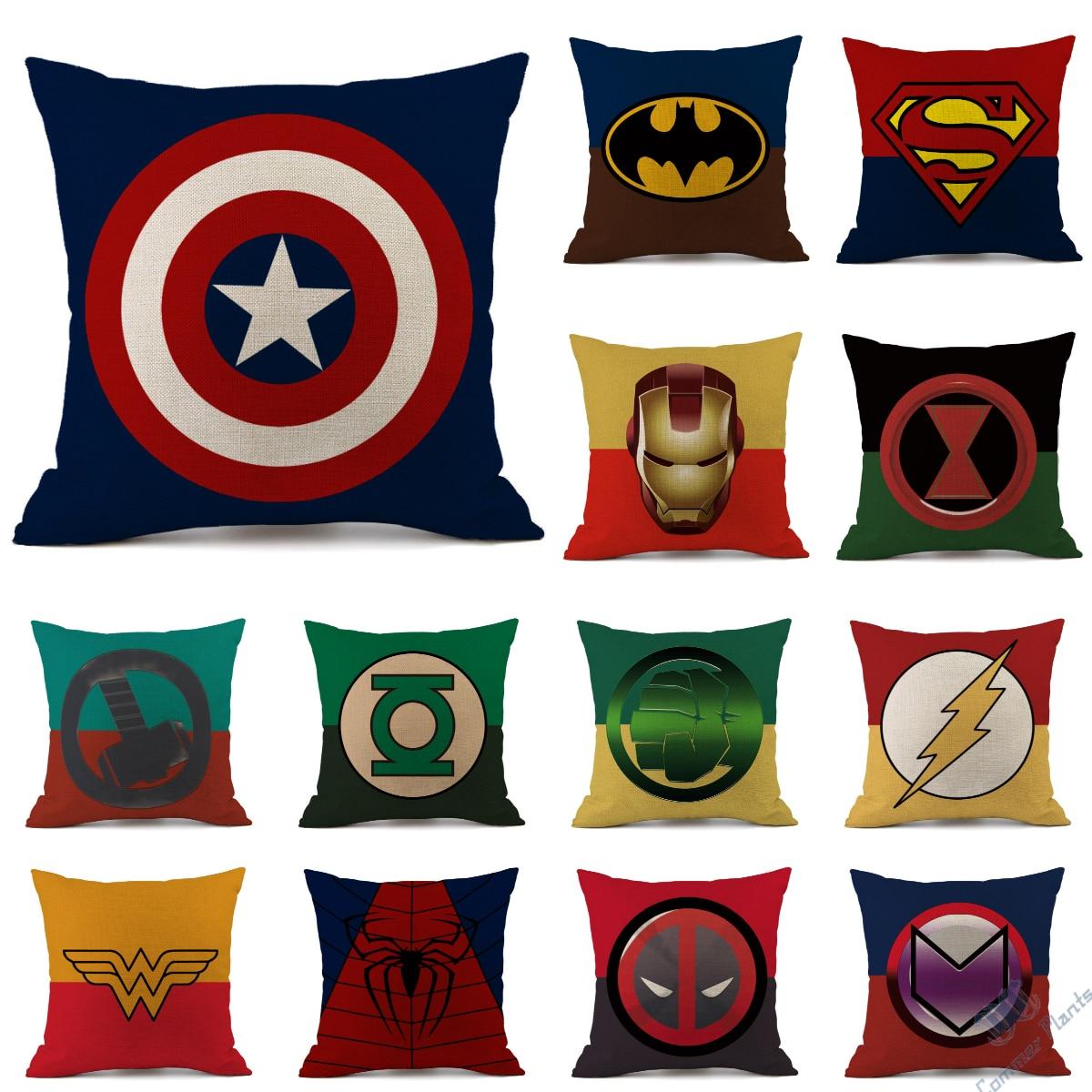 Tema de súper héroe de dibujos animados vengadores cojín cubierta caliente Superman, Spiderman Hombre Murciélago hombre capitán funda Marvel logotipo sofá almohada