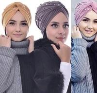 muslim cotton turban hijab bonnet arab wrap head turbans for women indian african turbans twist headband turbante mujer