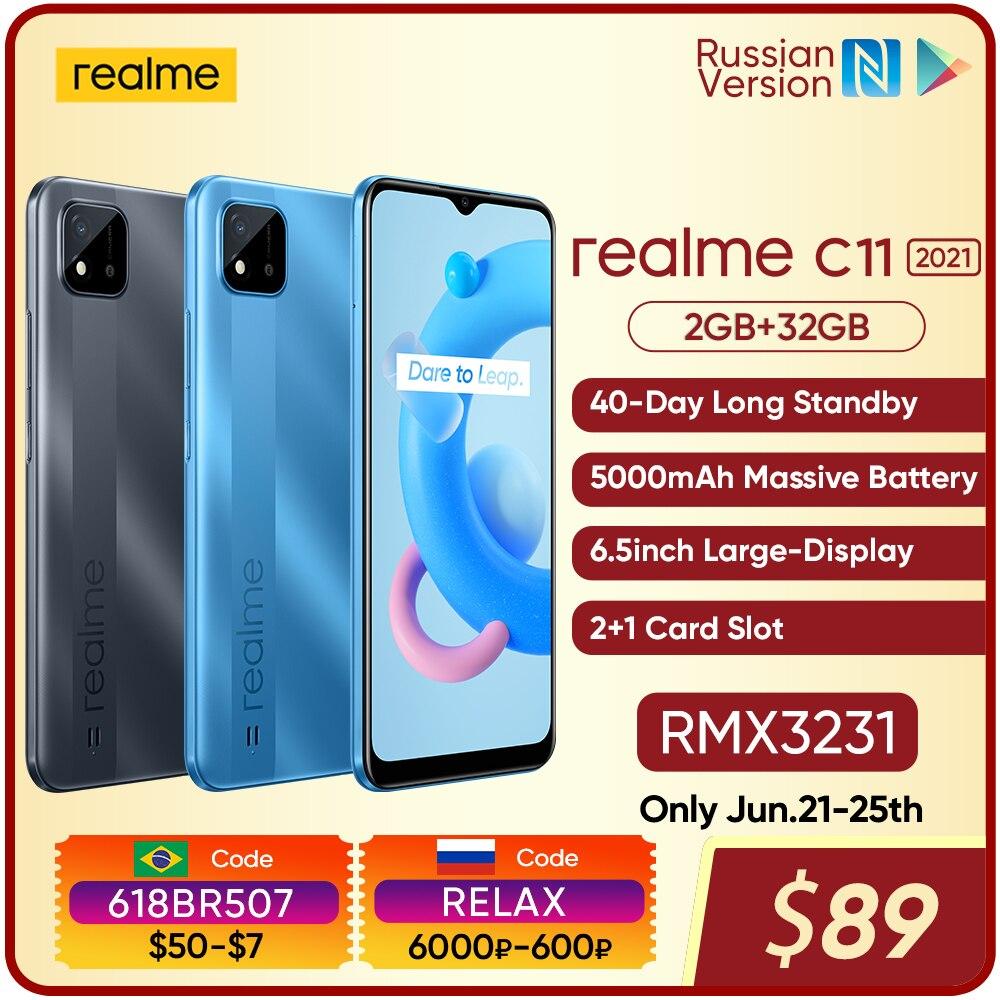 Realme C11 2021 Русская версия 2 Гб Оперативная память 32GB Встроенная память 6,5 дюйм HD + большой Дисплей 5000 мАч долгоиграющий Батарея Поддержка NFC сети
