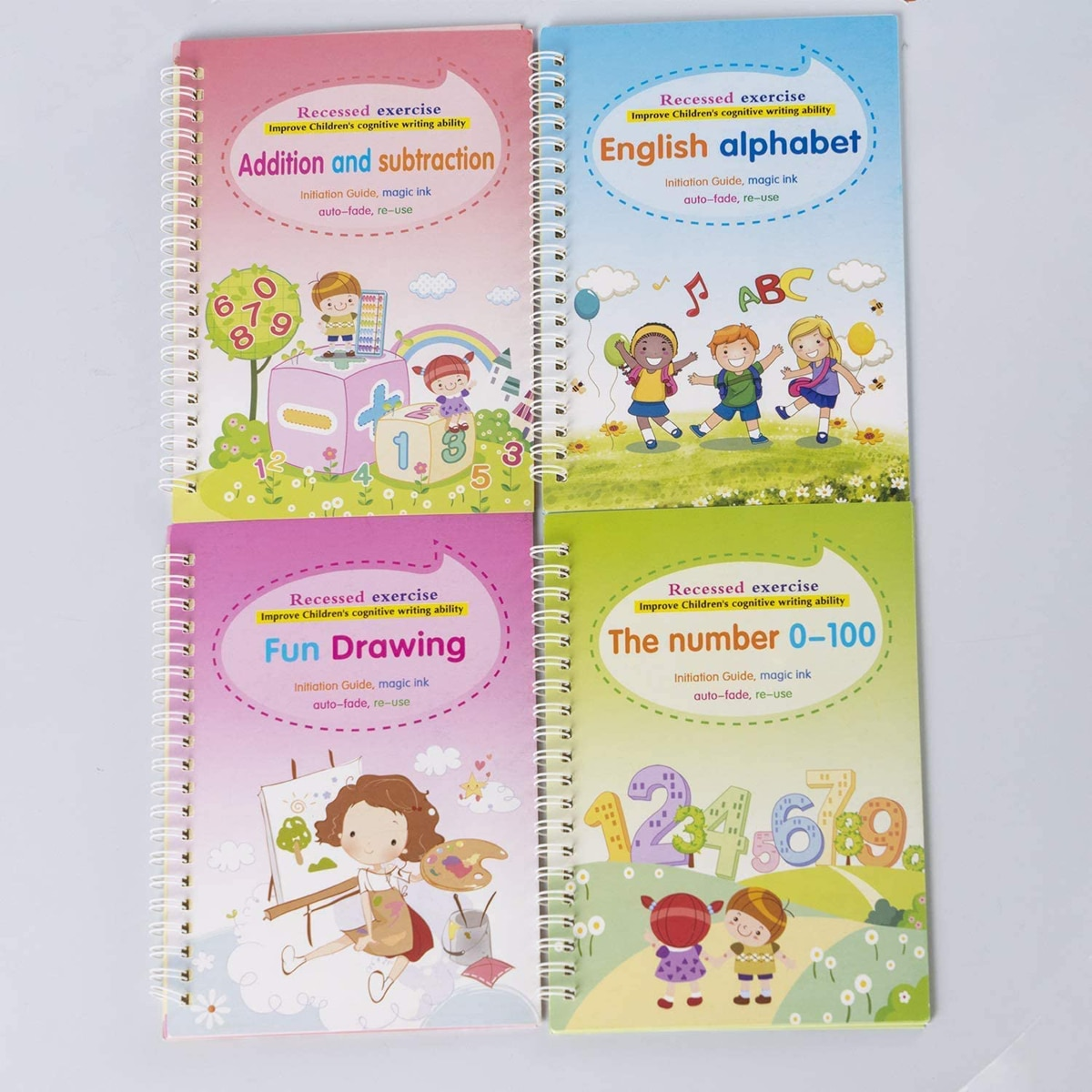 Magic Practice Copybook English Study Workbooks 4 Pack Reusable Children's Calligraphy Letter Tracing Paper Mathematical Drawing enlarge