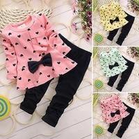 pink heart sets kid girls long sleeve bowknot shirt long pant autumn winter toddler clothing outfits
