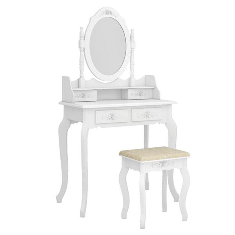 منضدة الزينة الحديثة ذات 4 أدراج مع مرآة ، منضدة الزينة البيضاء مع مرآة دوارة 360 درجة