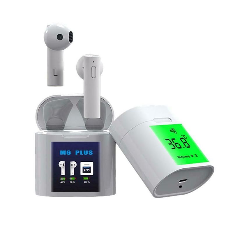 Auricular inalámbrico Bluetooth 5,0 con pantalla LCD grande y función de prueba de temperatura 6D efecto de sonido reducción de ruido