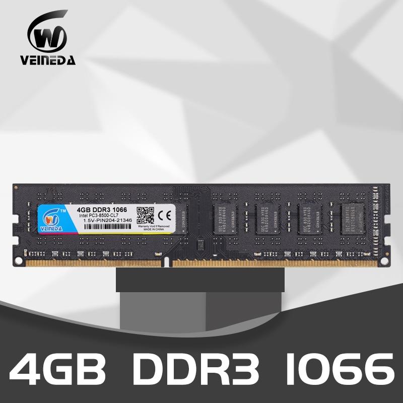 VEINEDA ذاكرة عشوائية ram DDR3 4 جيجابايت 8 جيجابايت 1066 ميجا هرتز سطح المكتب ddr 3 4 جيجابايت PC3-8500 ميموريا 240pin 1.5 فولت غير ECC الذاكرة