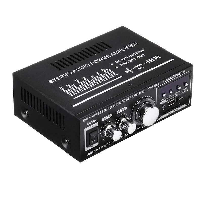 Lepy 12V/220V 400W 2 CH Bluetooth amplificador estéreo de alta fidelidad USB SD FM Radio de Stereo amplificador de coche Audio amplificador