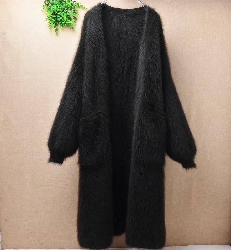 Elegante casual invierno largo suelto marrón grueso visón cachemir manga larga linterna angora conejo piel cárdigan suéter abrigo