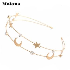 MOLANS новый золотой сплав Кристалл головная повязка Бабочка Двойной ободок для волос Луна Звезда инкрустированные головная повязка женские аксессуары для волос