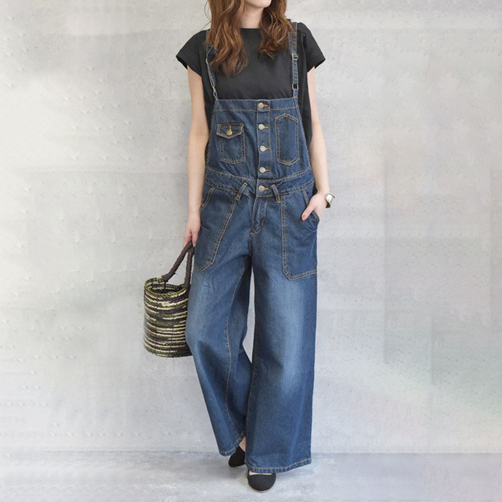 Women Rompers And Jumpsuites  Casual Ladies Fashion Loose Mid Waist All-in-one Female Wide Leg Pants