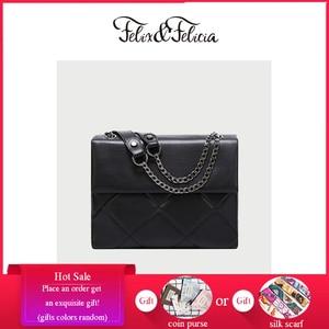 FELIX & FELICIA Women Fashion Shoulder Handbag For 2021 Ladies Casual PU Leather Messenger Vintage Chain Crossbody Flap Tote Bag