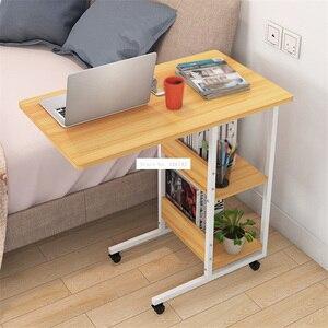 Стол компьютерный Pressboard со стальной рамой, простой ленивый маленький двухуровневый столик для ноутбука с шкивом