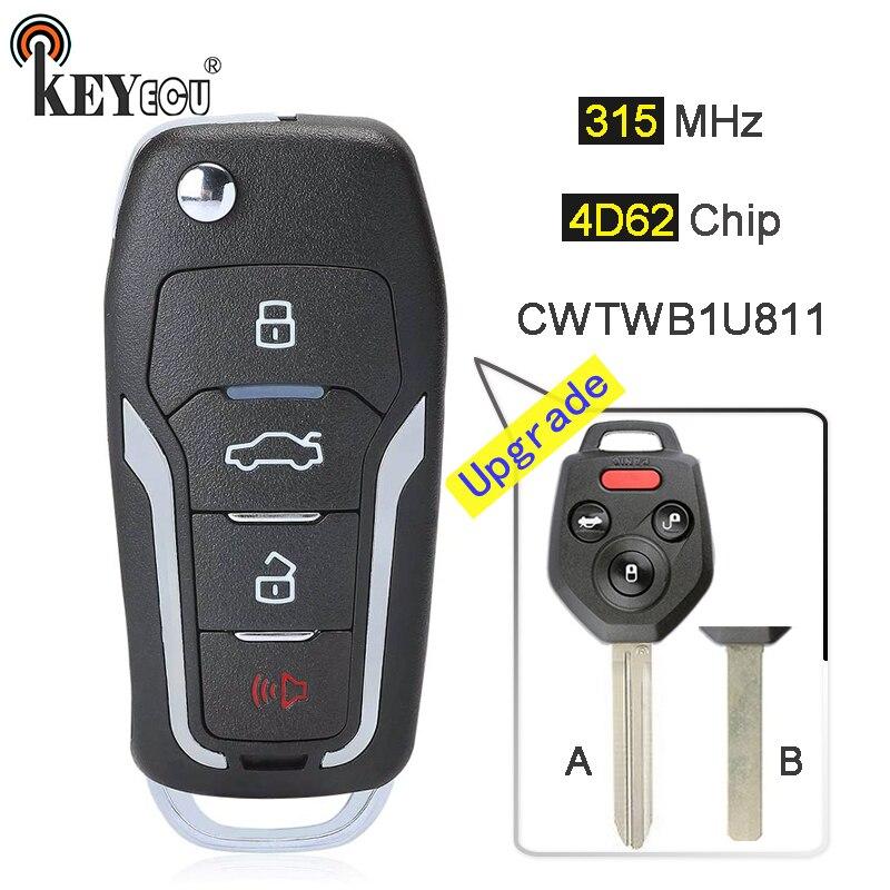 KEYECU 315MHz 4D82 Chip CWTWBU811 Verbesserte Flip Folding 3 + 1 4 Taste Remote Key Fob schlüssel für Subaru forester Impreza Legacy WRX