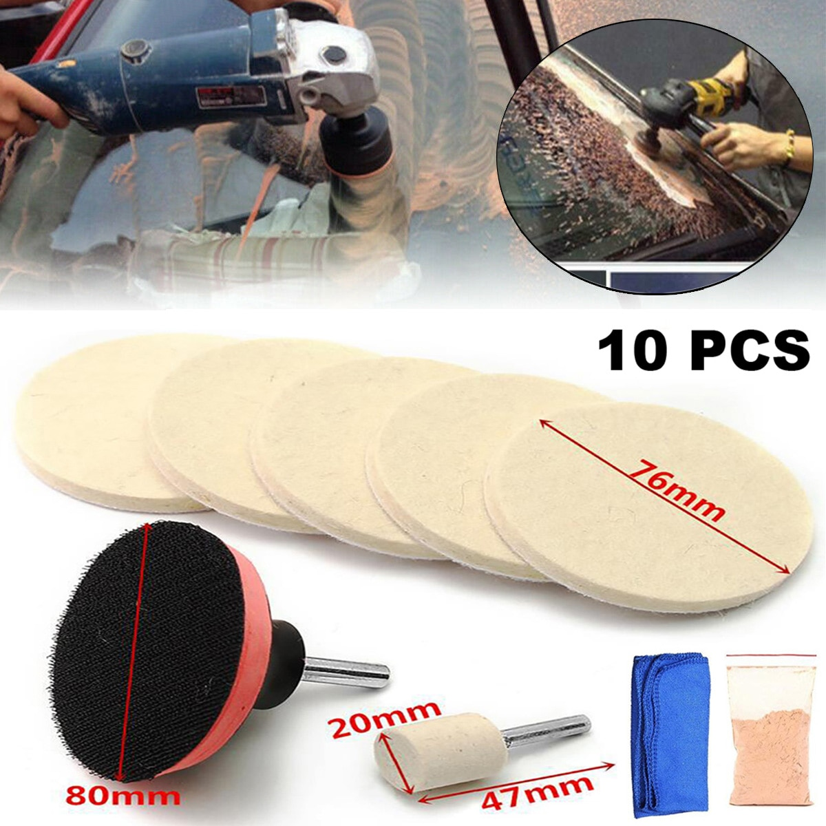 10Pcs car window glass polishing tool kit package windshield scratches car scratch removal tool polishing accessories ossieao new watch glass polishing kit glass scratch removal set acrylic sapphire crystal