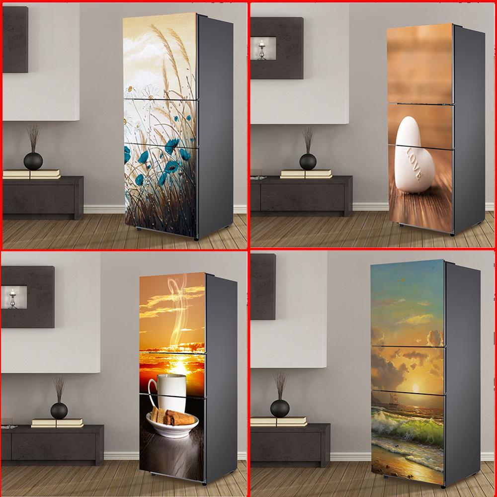 Película autoadhesiva 3D puerta vinilo cubierta para nevera pegatinas refrigerador funda papel de pared Pvc