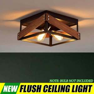 Retro Industrial Wood Metal Ceiling Two-Light Flush Mount without Bulbs for Restaurant Barn Hallway Living Room Kitchen
