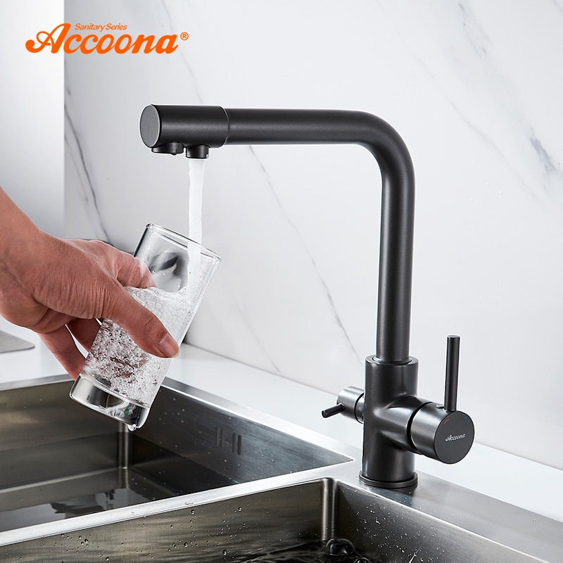 Accoona Kitchen Faucet Contemporary Dual Holder Dual Hole Clean Water Filter Dot Brass Purifier Faucet Vessel Sink Tap A5179-4