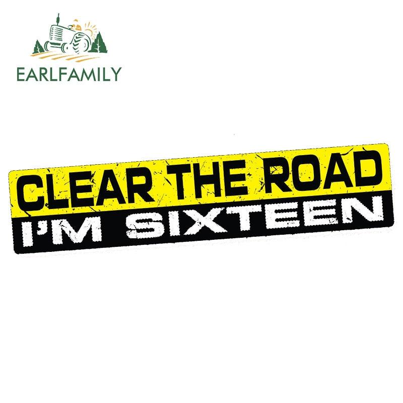 EARLFAMILY 15cm x 3cm pegatinas de coche claro la carretera 16 etiqueta engomada de la carrera divertido parachoques JDM 4X4 SUV 4WD impermeable Accesorios
