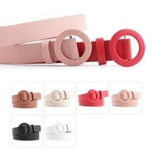 Solid Color Pu Leather Belt Lady Fashion Round Buckle Needle-Free Belt Light Body Punch-Free Decorat