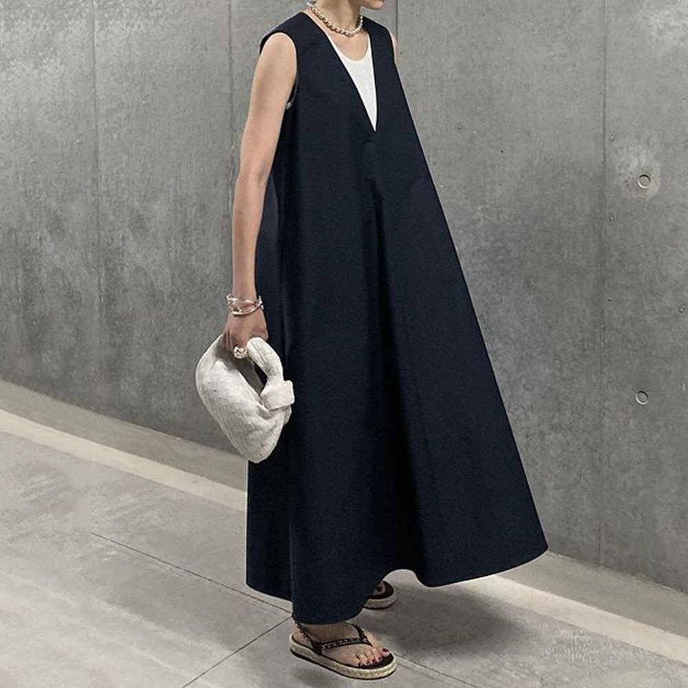 Korean Casual Dress Expansion 2021 New Style Micro-Elastic Pullover Plain Japan Style Loose A-line C