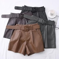 2021 new pu leather shorts women shorts all match sashes wide leg short ladies sexy leather shorts autumn winter
