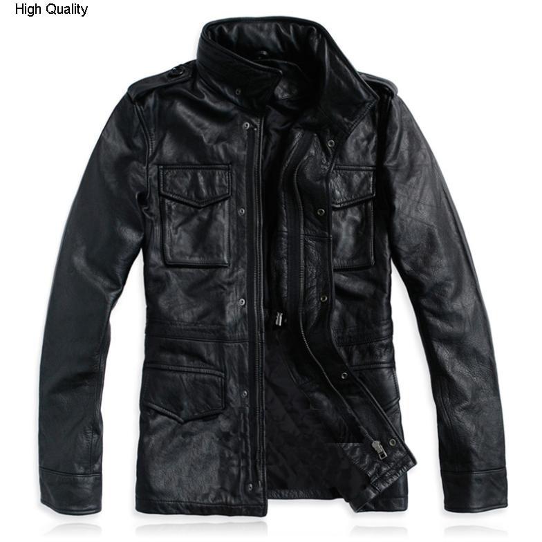 Chaqueta de cuero clásica alpha M65 hanting 100% piel de becerro para hombre chaqueta de cuero genuino de ajuste negro chaqueta de motocicleta yardas grandes