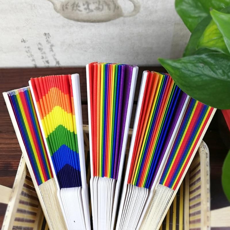 Hot 21CM/23CM Colorful Unique Rainbow Hand Fan Bamboo Dacron Fan Natural Bright Color Home DIY Party Decoration