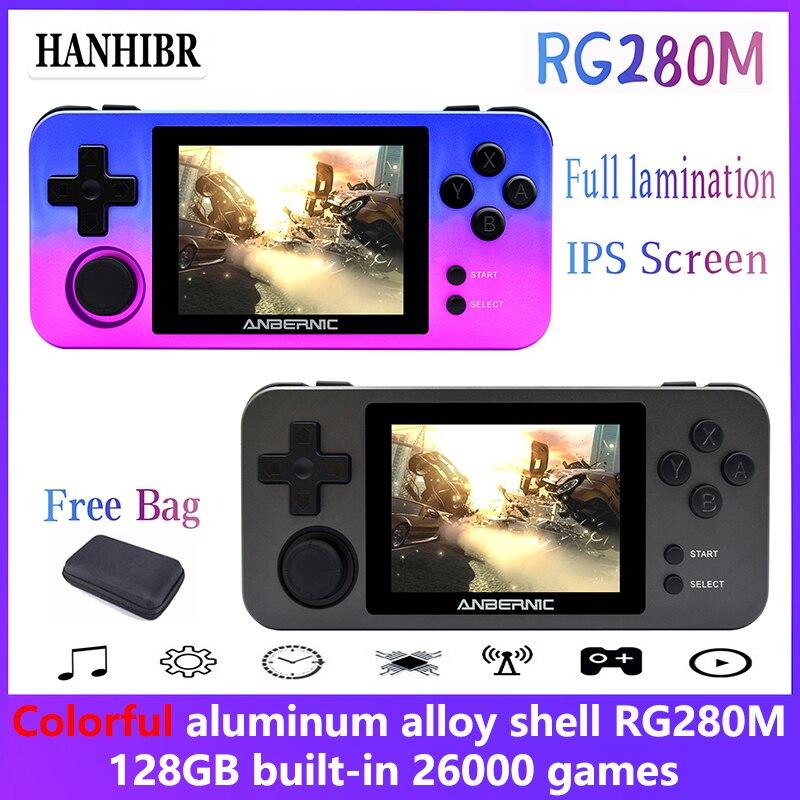 ANBERNIC-minijuegos Retro RG280M, 2,8 pulgadas, IPS, consola de juegos portátil, PS1 emulador...